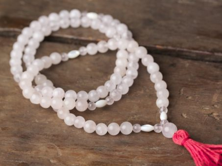 Rose Quartz and Mother of Pearl Full Mala