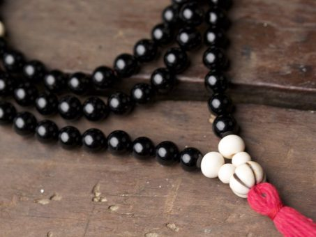 Black Onyx and Bone Full Mala