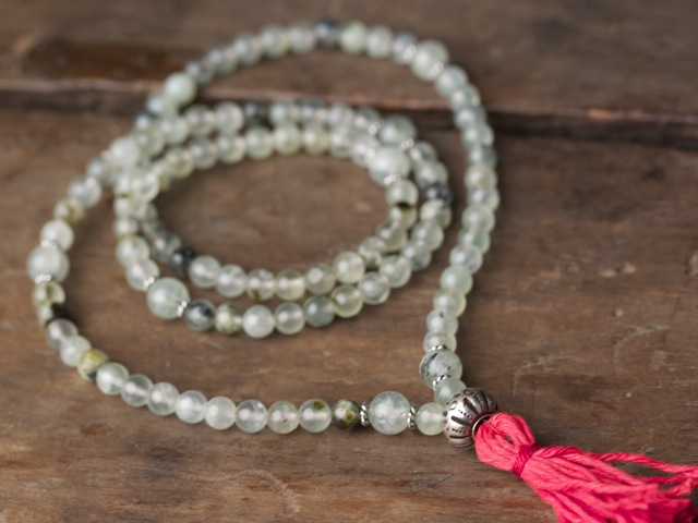 Green Tourmalated Quartz Full Mala
