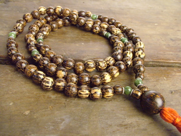 Palm Wood and Jade Full Mala