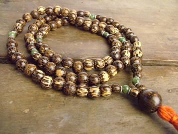 Palm Wood and Jade Full Mala