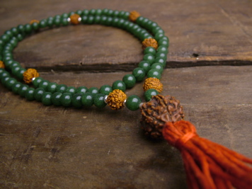 Jade and Rudraksha Full Mala