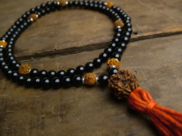 Black Onyx and Rudraksha Full Mala