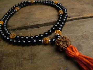 Black Onyx and Rudraksha Full Mala