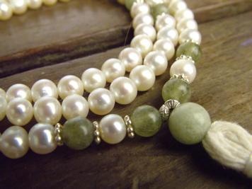 White Pearl and Green Garnet Full Mala