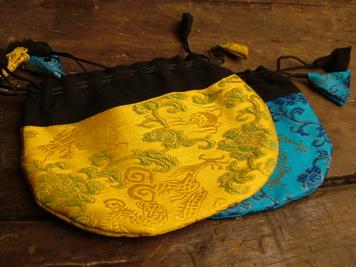 Embroidered Drawstring Mala Bag