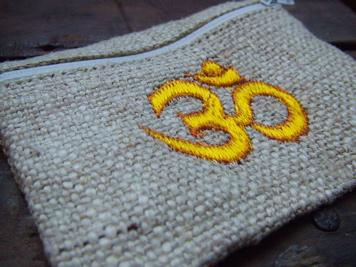 Embroidered Om Hemp Mala Bag