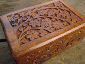 Carved Rosewood Mala Box