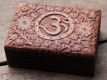 Carved Floral Om Box