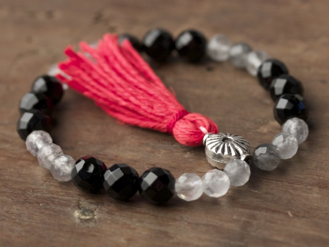 Cloudy Quartz and Onyx Mala
