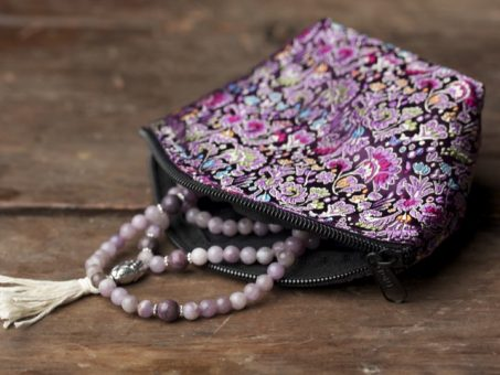 Brocade Satin Zipper Mala Bag