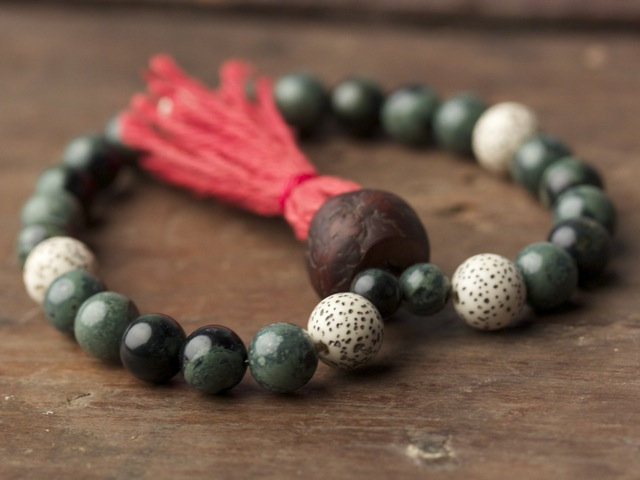 Kambaba Jasper, Lotus and Bodhi Mala