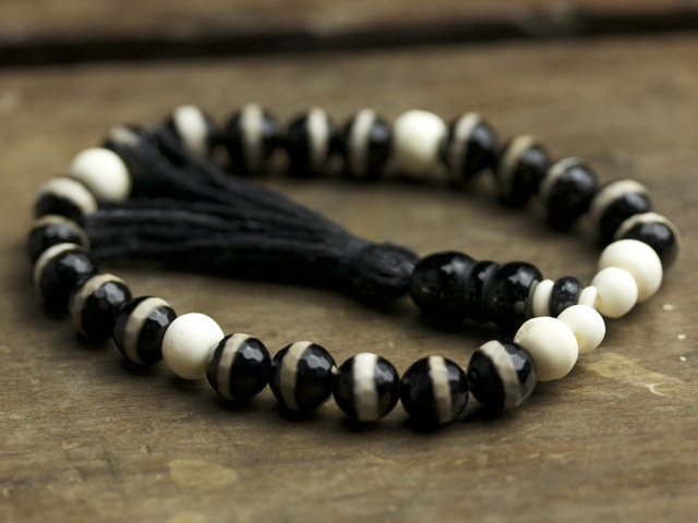 Black Agate and Bone Mala