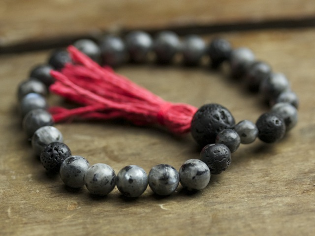 Blue Labradorite and Lava Stone Mala