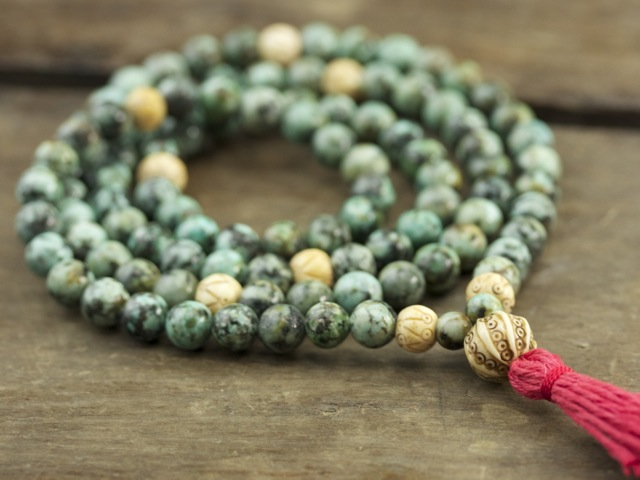 African Turquoise and Bone Full Mala